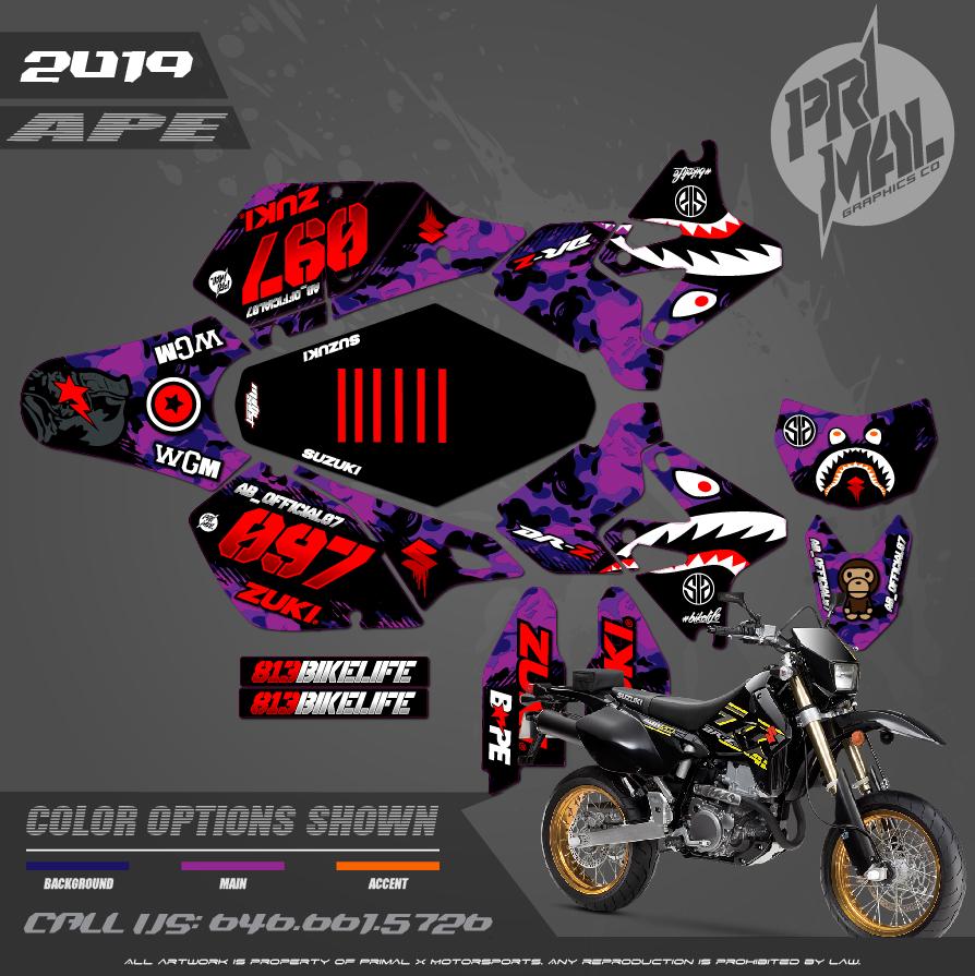 DRZ400SM SERIES MOTOCROSS GRAPHICS ATV MX GRAPHICS PRIMAL X MOTORSPORTS PRIMAL GFX APE