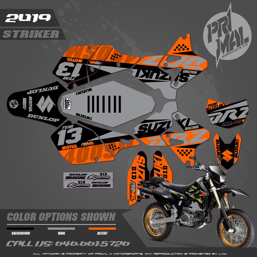 DRZ400SM SERIES MOTOCROSS GRAPHICS ATV MX GRAPHICS PRIMAL X MOTORSPORTS PRIMAL GFX STRIKER