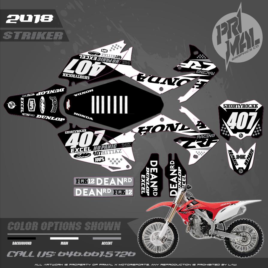 HONDA CRF250R CUSTOM MOTOCROSS GRAPHICS ATV MX GRAPHICS PRIMAL X MOTORSPORTS STRIKER