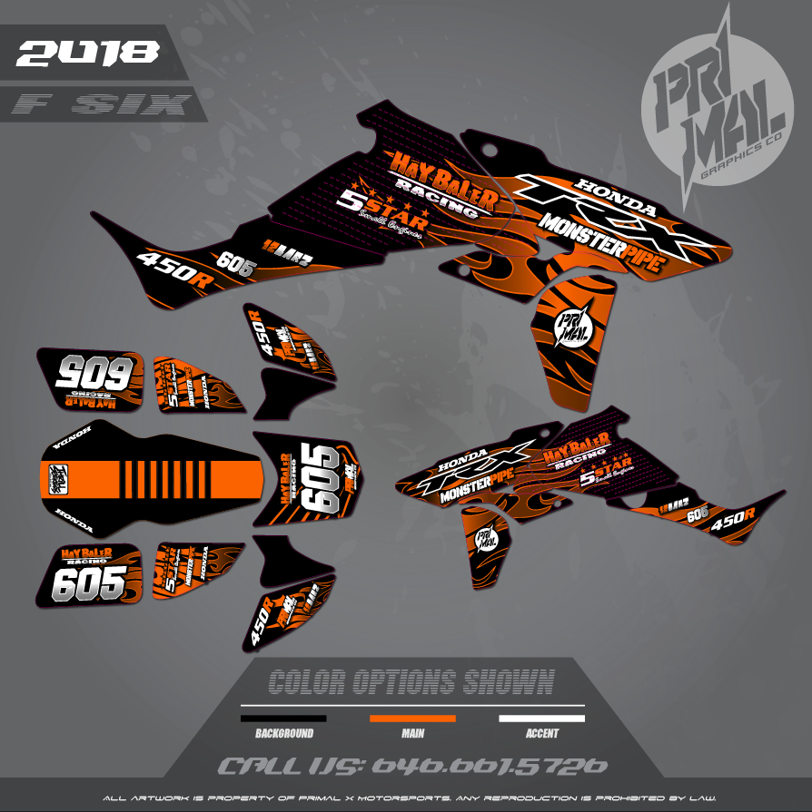 HONDA TRX450 R FIVE STAR SMALL ENGINES MOTOCROSS GRAPHICS ATV MX GRAPHICS PRIMAL X MOTORSPORTS