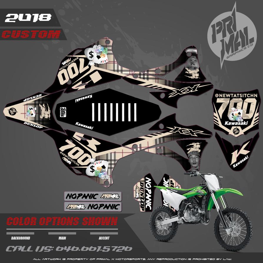 KAWASAKI KX100 KX85 BURBERRY ATV GRAPHICS  PRIMAL X MOTORSPORTS CUSTOM MOTOCROSS GRAPHICS MX GRAPHICS