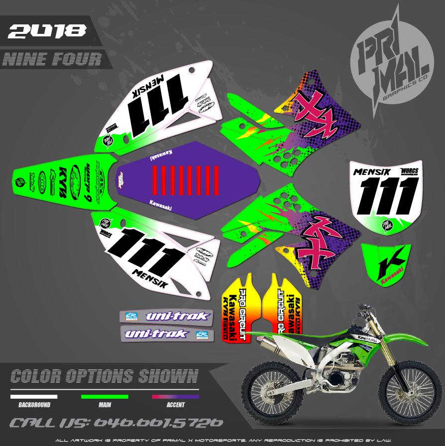 KAWASAKI KX250F KX450F  GRAPHICS MOTOCROSS GRAPHICS ATV MX GRAPHICS PRIMAL X MOTORSPORTS CUSTOM NINE FOUR SERIES