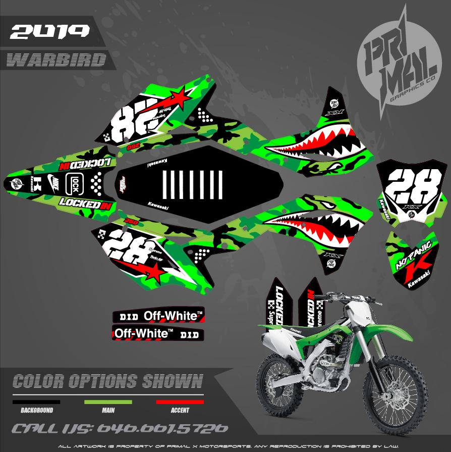KAWASAKI KX250F MOTOCROSS GRAPHICS ATV MX GRAPHICS PRIMAL X MOTORSPORTS PRIMAL GFX BIKELIFE WARBIRD CAMO