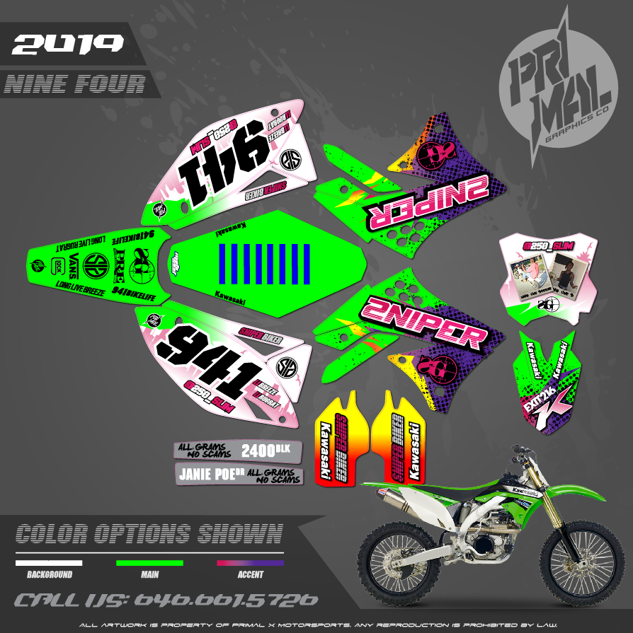 KAWASAKI KX450F MOTOCROSS GRAPHICS ATV MX GRAPHICS PRIMAL X MOTORSPORTS PRIMAL GFX BIKELIFE 250slim