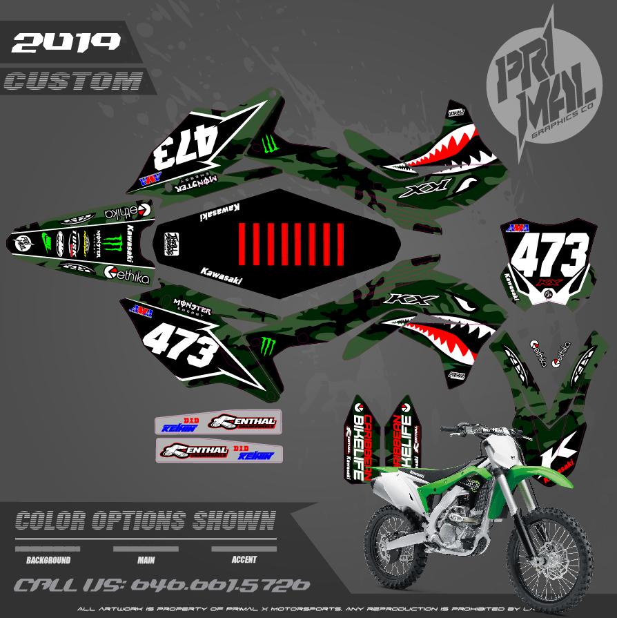 KAWSAKI KX450F KX250F SERIES MOTOCROSS GRAPHICS ATV MX GRAPHICS PRIMAL X MOTORSPORTS PRIMAL GFX CO BIKELIFE