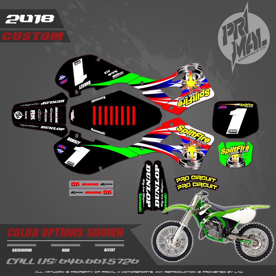 RAMSEY REPLICA KAWASAKI SPLITFIRE PRIMAL X MOTORSPORTS CUSTOM MOTOCROSS GRAPHICS MX GRAPHICS