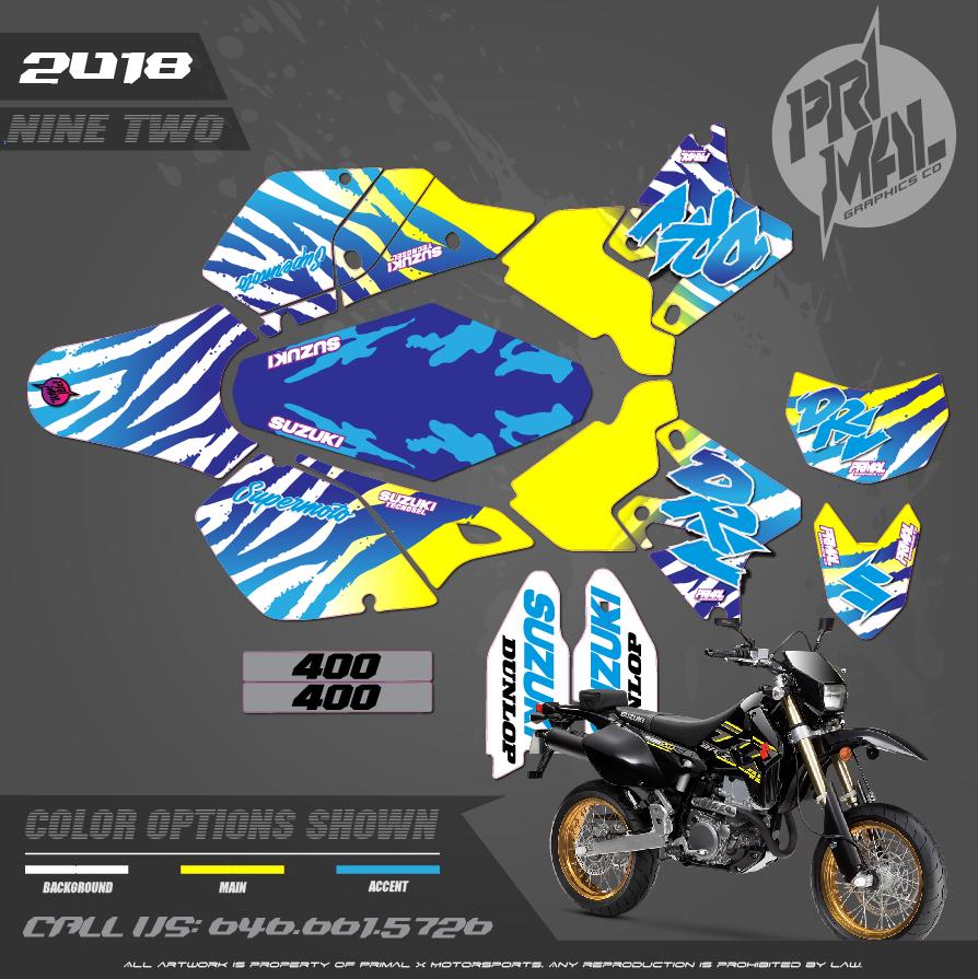 SUZUKI DRZ400SM CUSTOM MOTOCROSS GRAPHICS ATV MX GRAPHICS PRIMAL X MOTORSPORTS NINE TWO