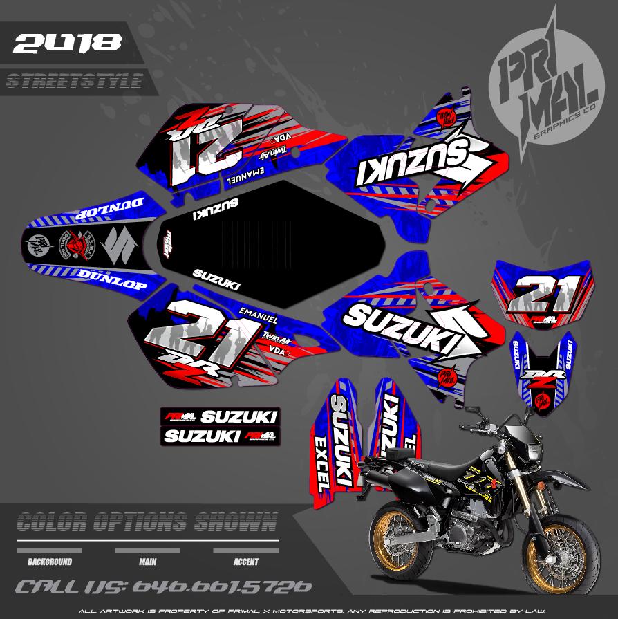 SUZUKI DRZ400SM CUSTOM MOTOCROSS GRAPHICS ATV MX GRAPHICS PRIMAL X MOTORSPORTS STREETSTYLE