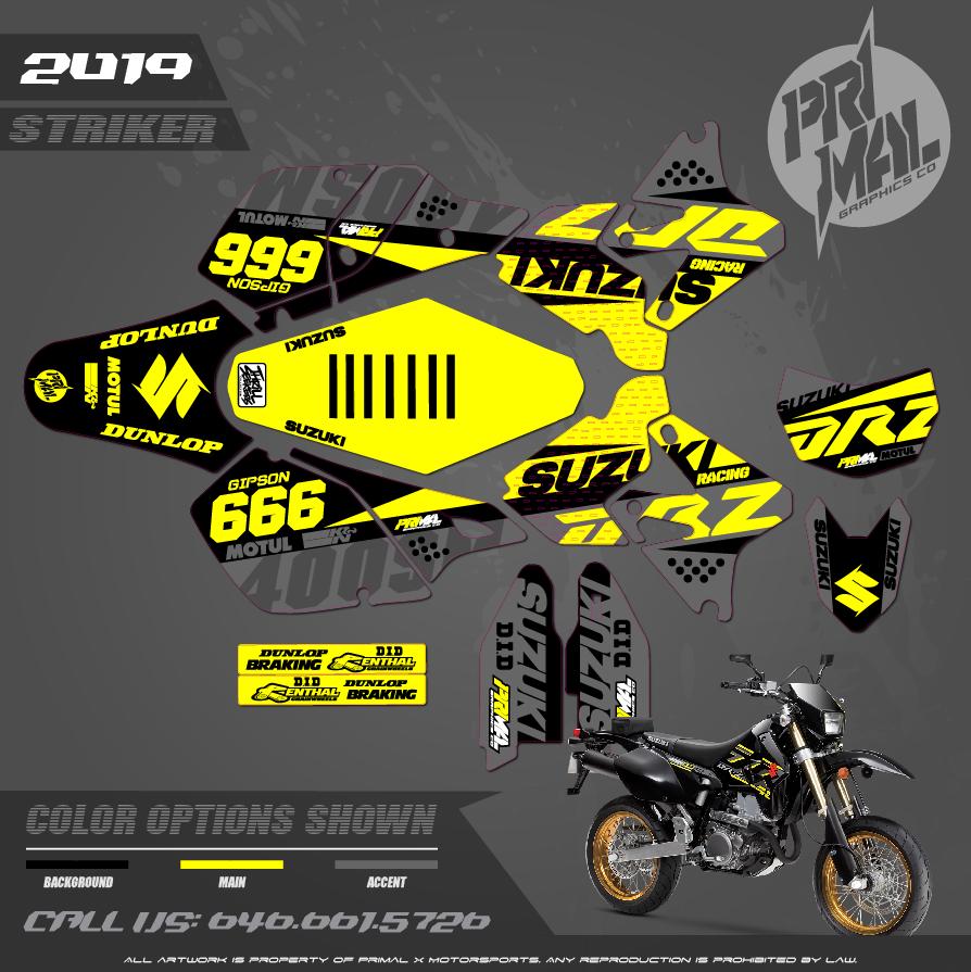 SUZUKI DRZ400SM CUSTOM MOTOCROSS GRAPHICS ATV MX GRAPHICS PRIMAL X MOTORSPORTS STRIKER 2