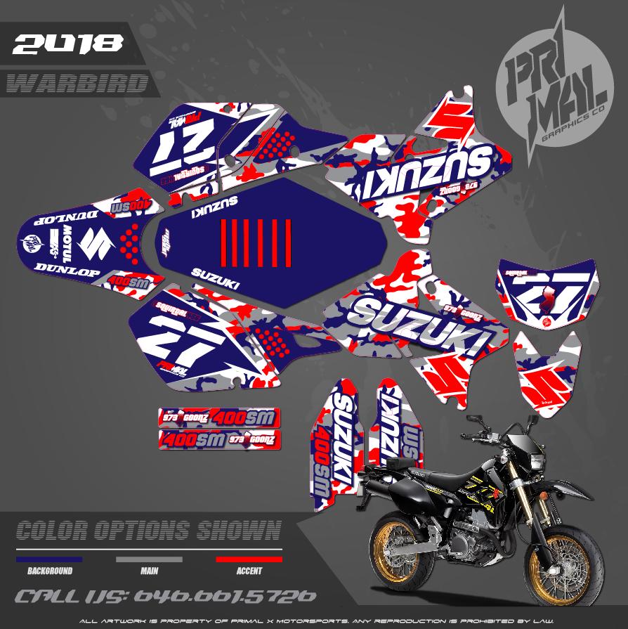 SUZUKI DRZ400SM CUSTOM MOTOCROSS GRAPHICS ATV MX GRAPHICS PRIMAL X MOTORSPORTS WARBIRD