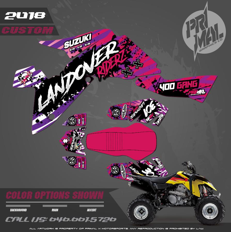 SUZUKI LTR400 ATV GRAPHICS  PRIMAL X MOTORSPORTS CUSTOM MOTOCROSS GRAPHICS MX GRAPHICS DC BIKELIFE LANDOVER RIDERS