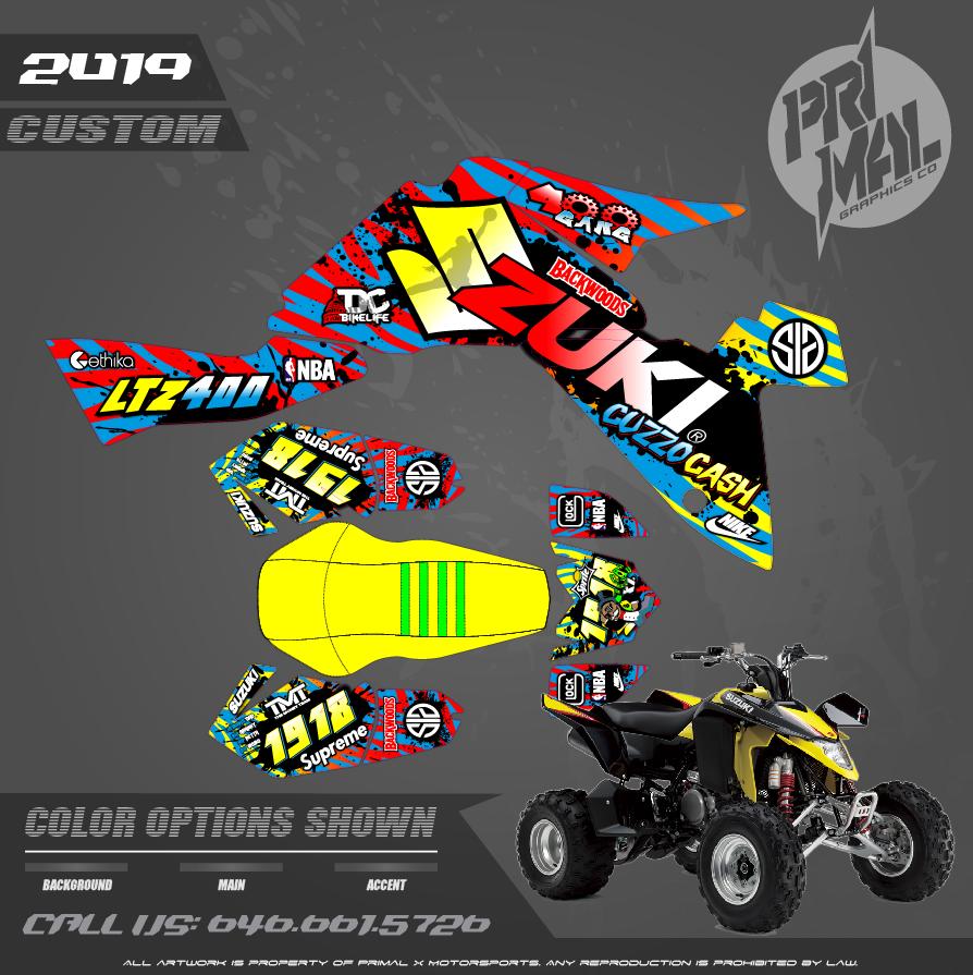 SUZUKI LTZ400 MOTOCROSS GRAPHICS ATV MX GRAPHICS PRIMAL X MOTORSPORTS PRIMAL GFX CO BIKELIFE POLISPORT