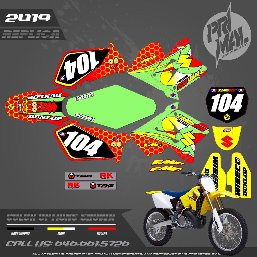 SUZUKI RM125 RM250 TEAM ECC CUSTOM MOTOCROSS GRAPHICS ATV MX GRAPHICS PRIMAL X MOTORSPORTS
