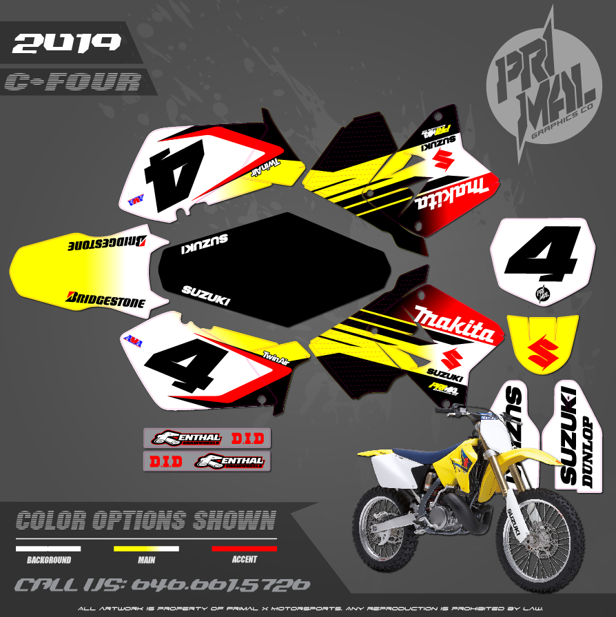 SUZUKI RM250 RICKY MAKITA  RM125 RM250 MOTOCROSS GRAPHICS ATV MX GRAPHICS PRIMAL X MOTORSPORTS PRIMAL GFX BIKELIFE
