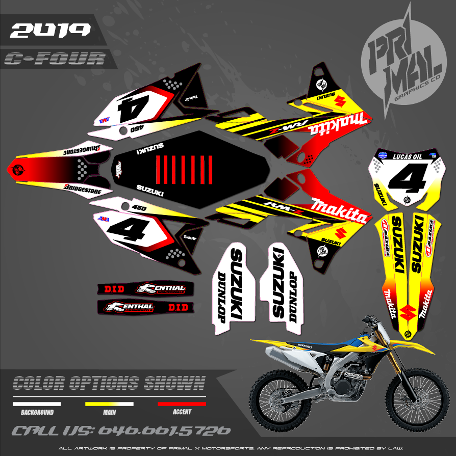 SUZUKI RM250 RICKY MAKITA  RM125 RM250 RMZ250 2019 2020 MOTOCROSS GRAPHICS ATV MX GRAPHICS PRIMAL X MOTORSPORTS PRIMAL GFX BIKELIFE - Copy (2)