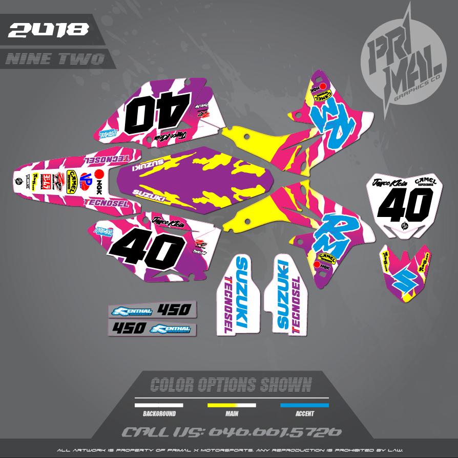 SUZUKI RMZ450 RM 250 MOTOCROSS GRAPHICS ATV MX GRAPHICS PRIMAL X MOTORSPORTS RETRO SUZUKI TECHNOSEL