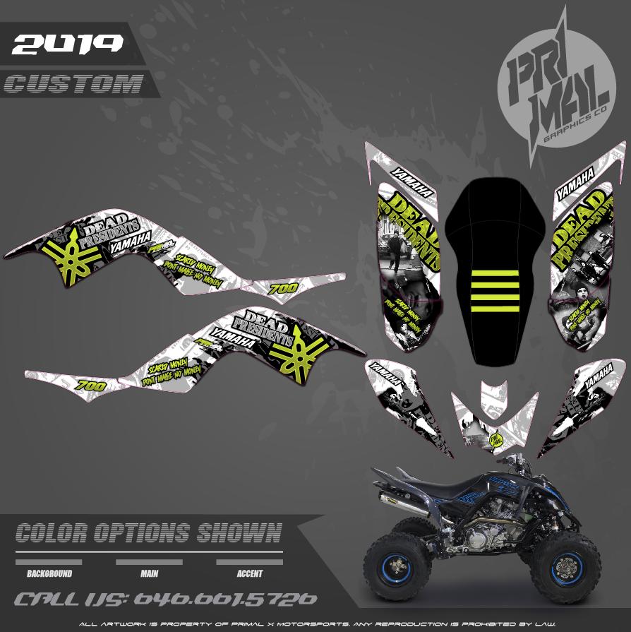 YAMAHA RAPTOR 700 DEAD PRESIDENTS SERIES MOTOCROSS GRAPHICS ATV MX GRAPHICS PRIMAL X MOTORSPORTS PRIMAL GFX CO BIKELIFE