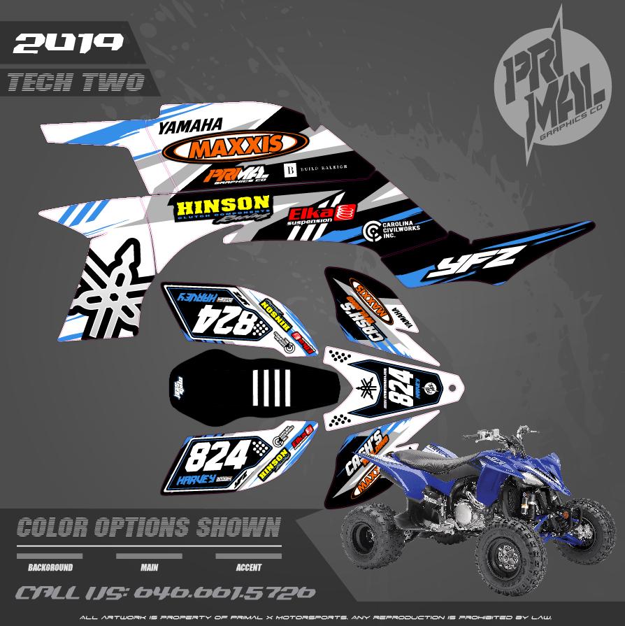 YAMAHA YFZ450 ATV TECH 2 SERIES MOTOCROSS GRAPHICS ATV MX GRAPHICS PRIMAL X MOTORSPORTS PRIMAL GFX CO BIKELIFE