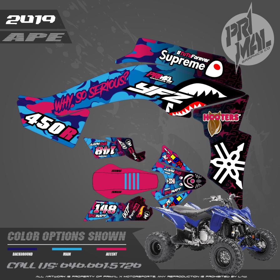 YAMAHA YFZ450F MOTOCROSS GRAPHICS ATV MX GRAPHICS PRIMAL X MOTORSPORTS PRIMAL GFX APE