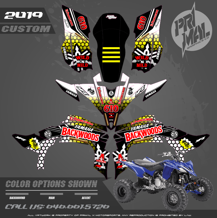 YAMAHA YFZ450F MOTOCROSS GRAPHICS ATV MX GRAPHICS PRIMAL X MOTORSPORTS PRIMAL GFX backWOODS