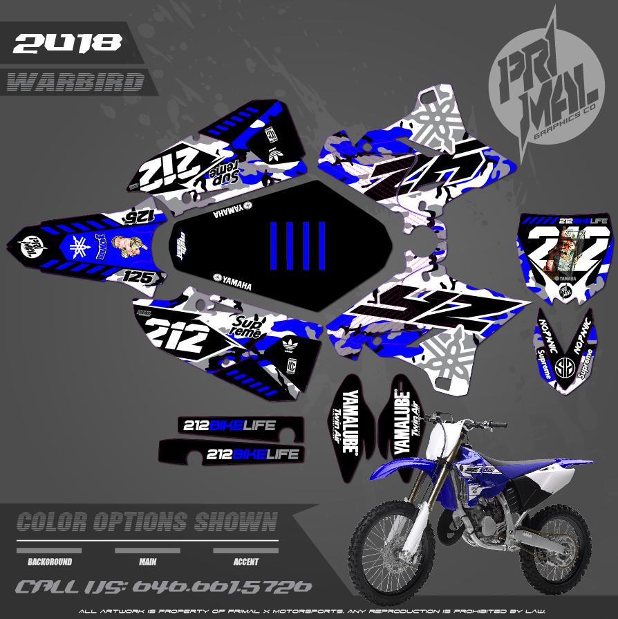 YAMAHA YZ125  PRIMAL X MOTORSPORTS CUSTOM MOTOCROSS GRAPHICS MX GRAPHICS