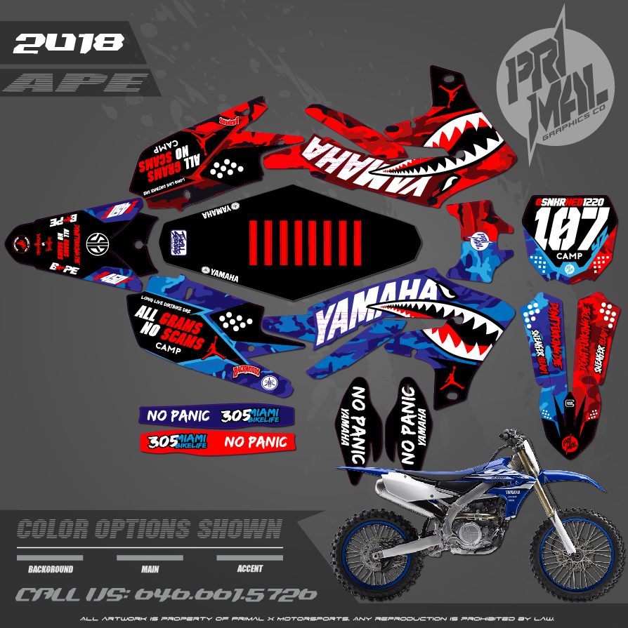 YAMAHA YZ125 YZ250 YZ450F YZ250F YZ450FX PRIMAL X MOTORSPORTS CUSTOM MOTOCROSS GRAPHICS MX GRAPHICS APE SERIES