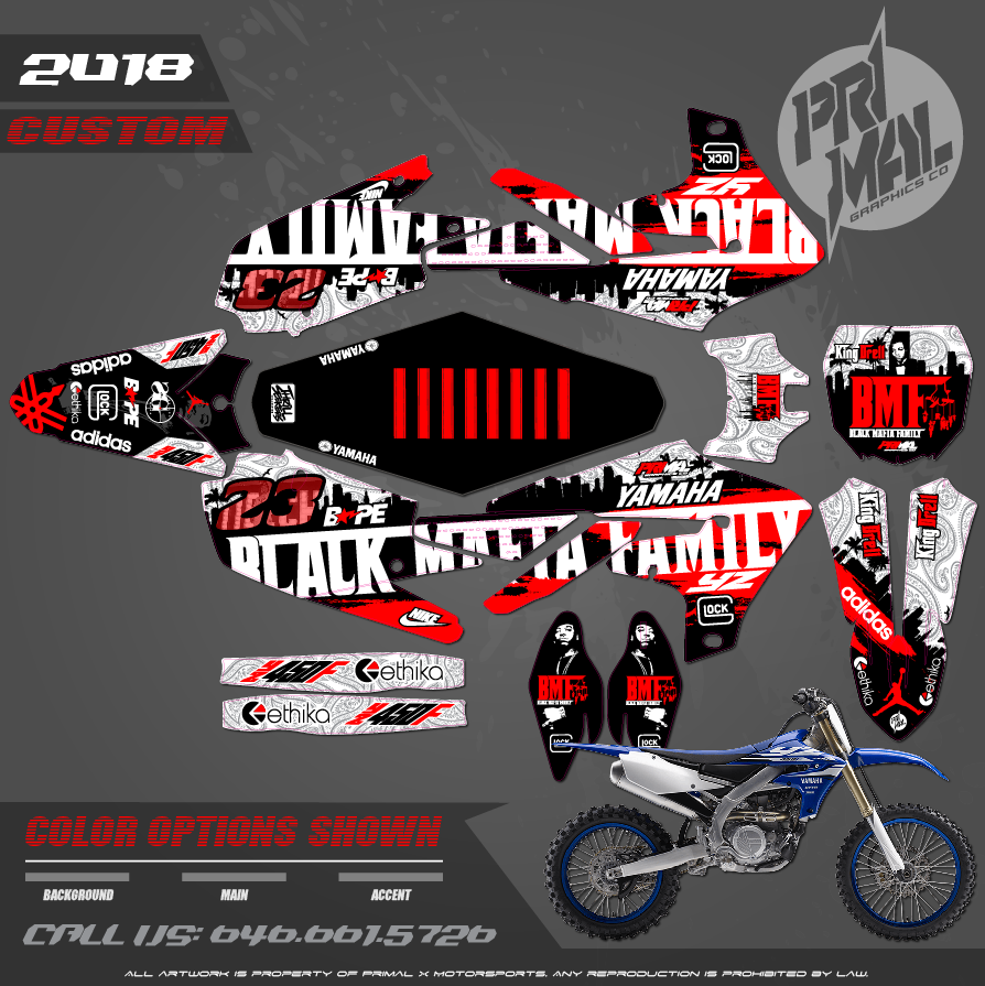 YAMAHA YZ125 YZ250 YZ450F YZ250F YZ450FX PRIMAL X MOTORSPORTS CUSTOM MOTOCROSS GRAPHICS MX GRAPHICS Black Mafia Family