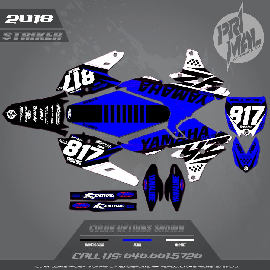 YAMAHA YZ250F YZ450F STRIKER SERIES MX GRAPHICS MOTOCROSS GRAPHICS ATV MX GRAPHICS PRIMAL X MOTORSPORTS BIKELIFE Option 2