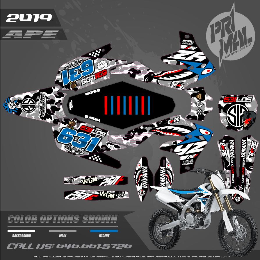 YAMAHA YZ450F APE MOTOCROSS GRAPHICS ATV MX GRAPHICS PRIMAL X MOTORSPORTS PRIMAL GFX LI BIKELIFE