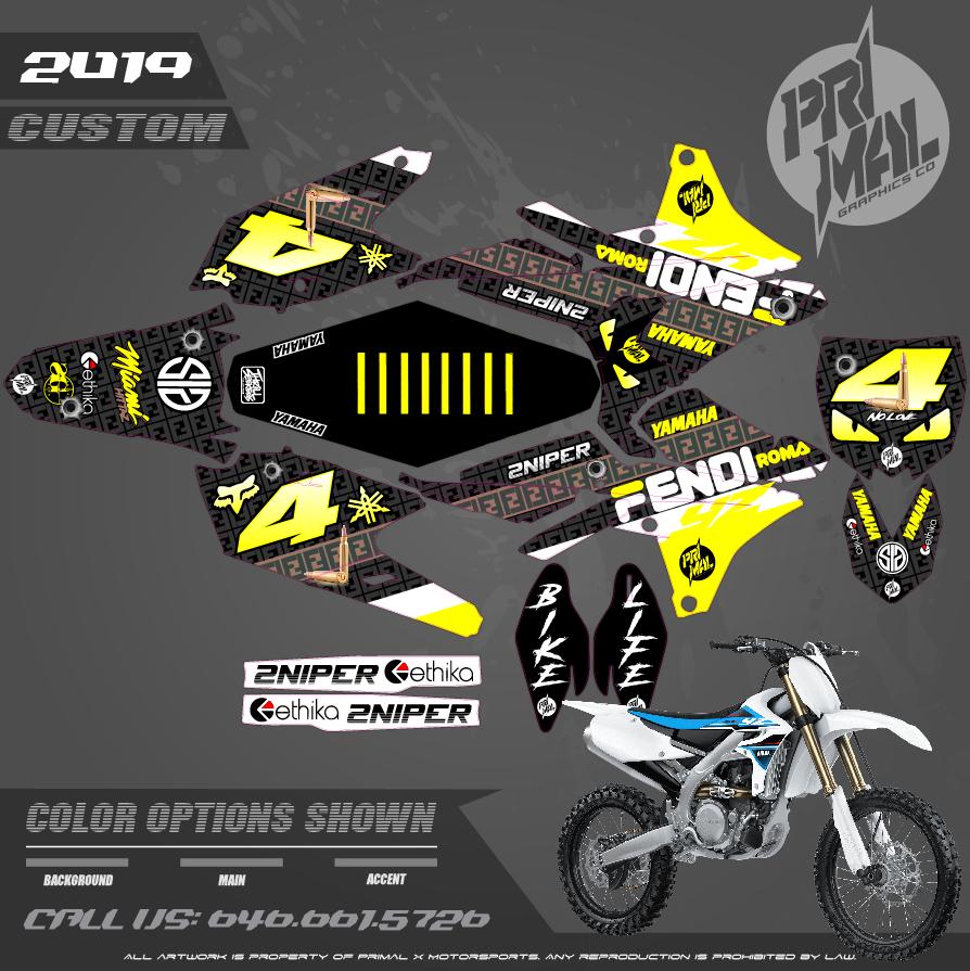 YAMAHA YZ450F FENDI SERIES MOTOCROSS GRAPHICS ATV MX GRAPHICS PRIMAL X MOTORSPORTS PRIMAL GFX CO BIKELIFE