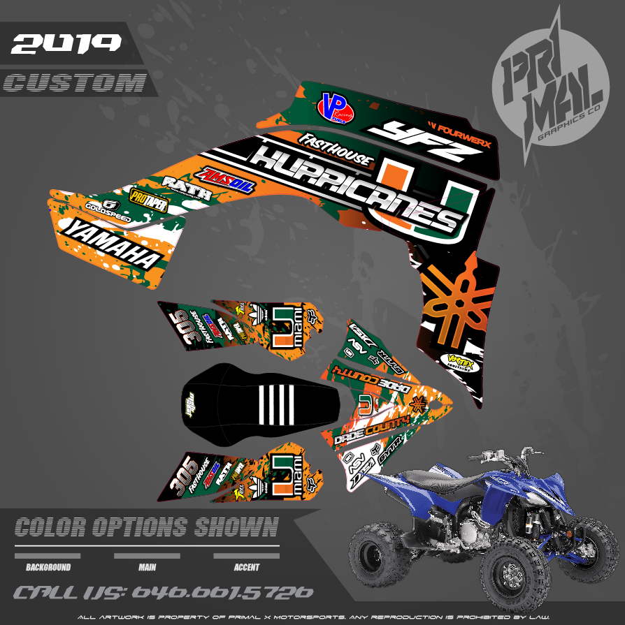 YFZ450R MIAMI ATV GRAPHICS MOTOCROSS GRAPHICS ATV MX GRAPHICS PRIMAL X MOTORSPORTS PRIMAL GFX CO BIKELIFE
