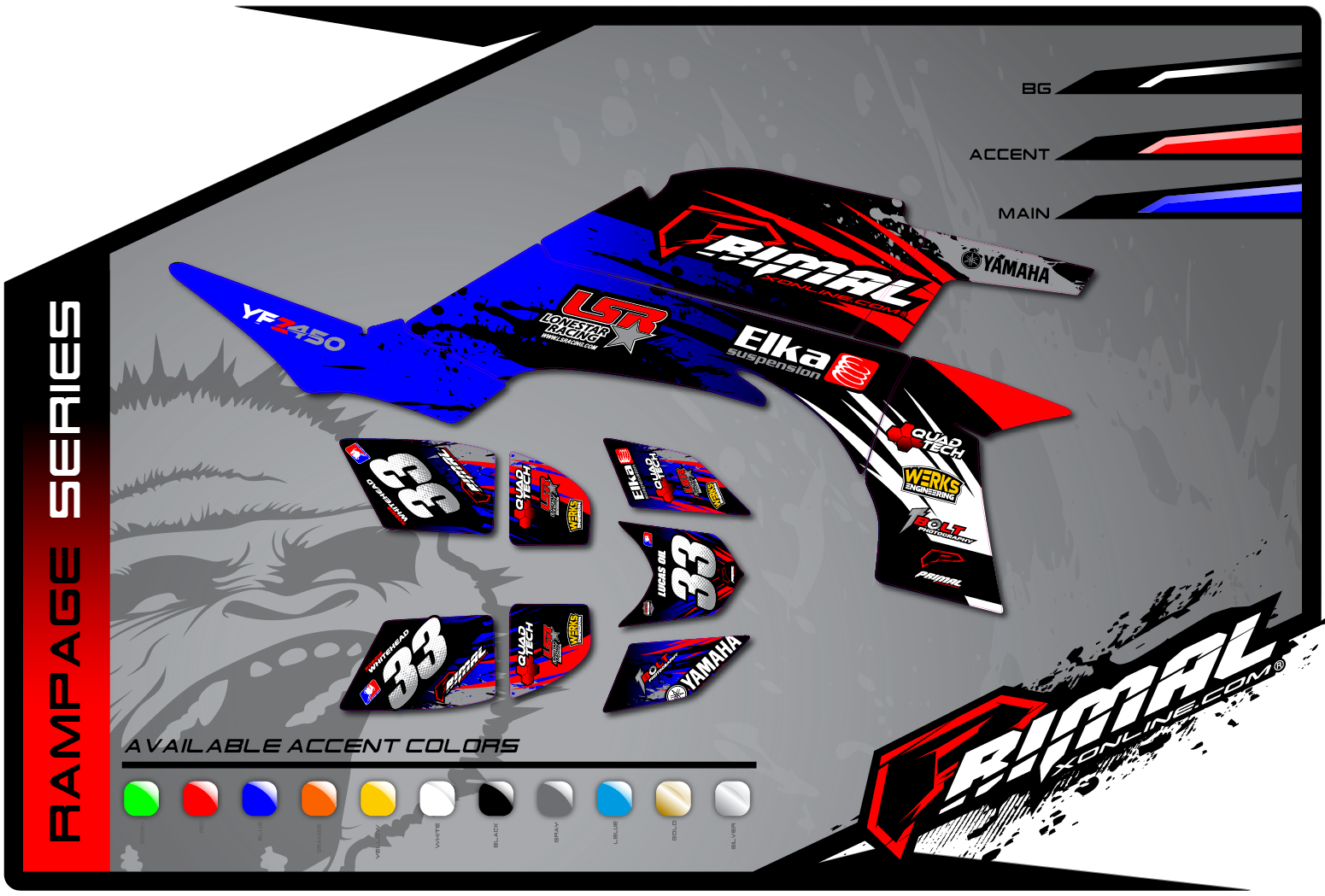 Primal X Motorsports MX Graphics ATV GRAPHICS TRX 450 Rampage