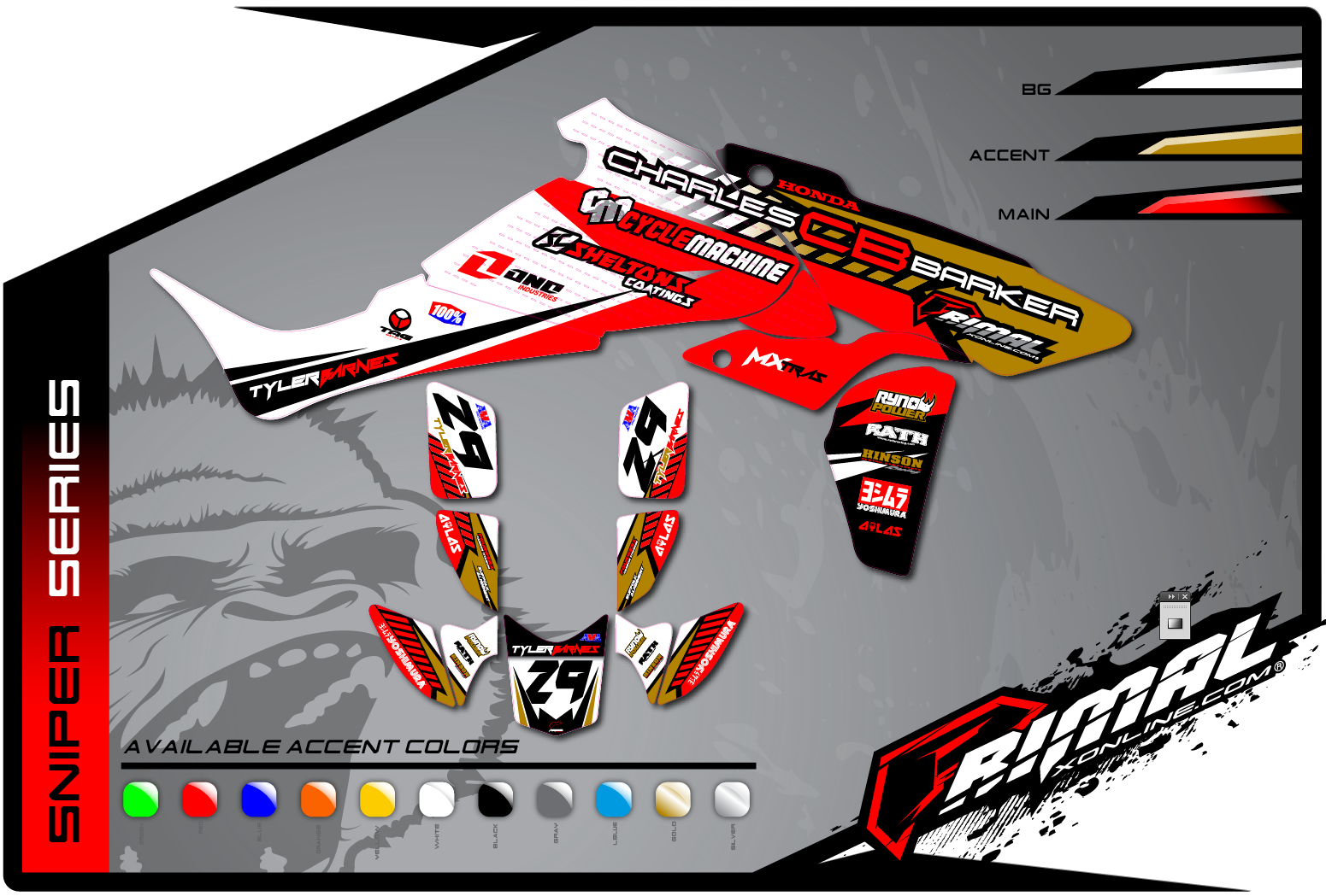 Primal X Motorsports MX Graphics ATV GRAPHICS TRX 450 SNIPER