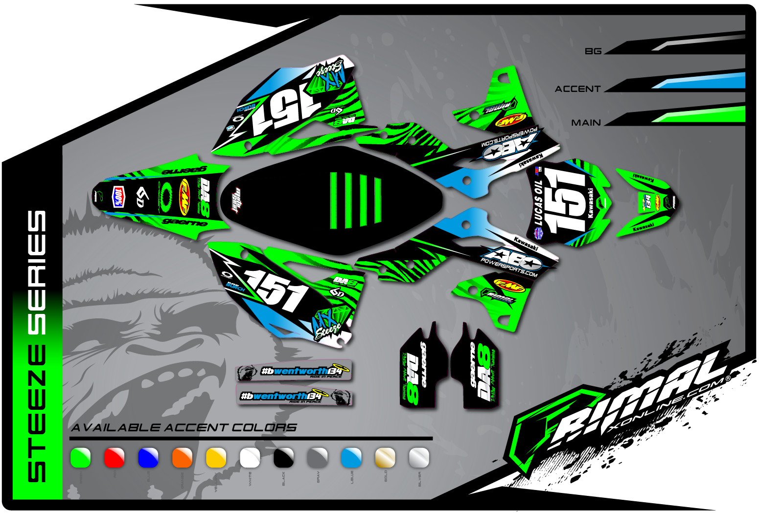 Primal X Motorsports MX Graphics KXF 450 KXF 250 Steeze Series