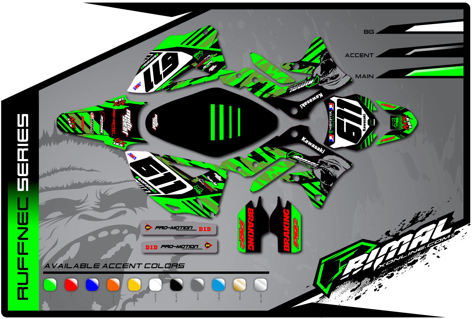 Primal X Motorsports MX Graphics KXF 450 KXF 250 ruffnec Series