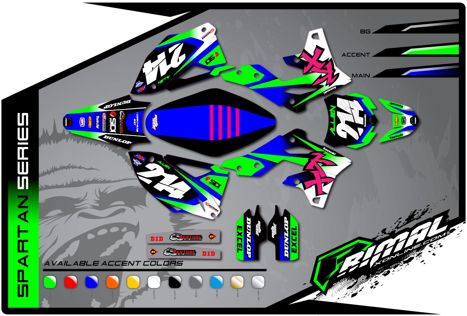Primal X Motorsports MX Graphics KXF 450 KXF 250 spartan Series