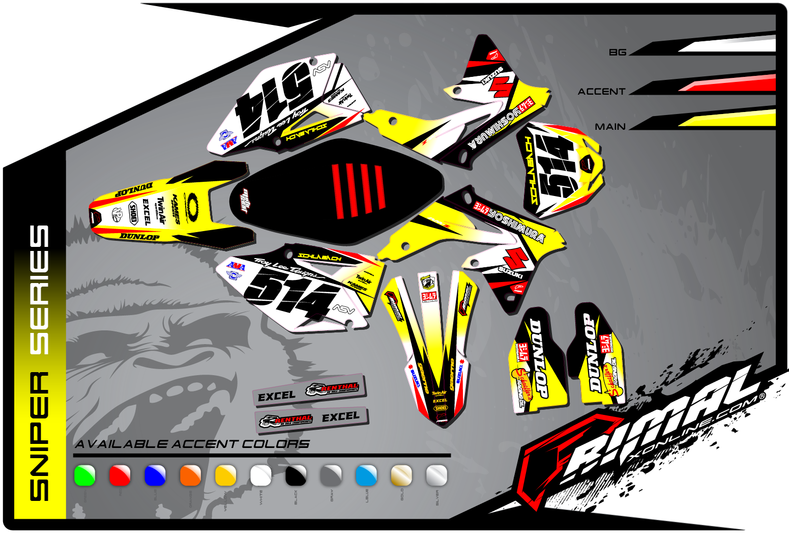 Primal X Motorsports MX Graphics SUZUKI RMZ 450 250 SNIPER series motocross graphics